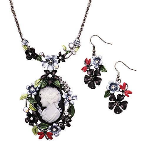 Dragonfly Hematite Earrings - Rosemarie Collections Women's Beautiful Statement Cameo and Flower with Dragonflies Pendant Necklace and Earrings Set