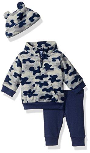 Gerber Baby Boy 3 Piece Micro Fleece Top, Pant and Cap Set, navy camo, 0-3 Months