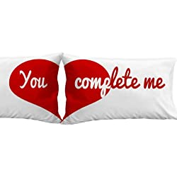 You Complete Me Heart Pillow Cases (Set of 2) Valentine Anniversary Boyfriend Girlfriend Wife Husband Gifts