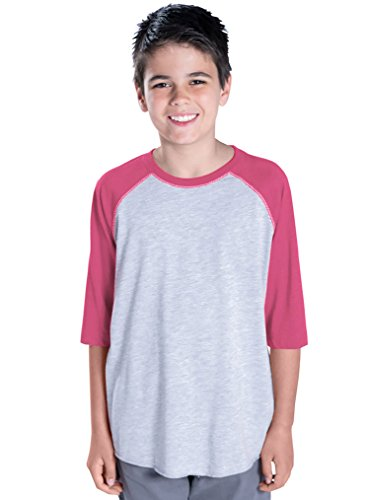 LAT Youth 100% Cotton Blank Vintage 3/4 Sleeve T-Shirt, VN Heather/VN Hot Pink, S