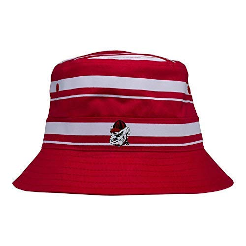 Two Feet Ahead University of Georgia Rugby Striped Bucket Hat-Red-Infant (Red Striped Monkey)