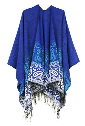 (Women's Fashionable Retro Style Vintage Pattern Tassel Poncho Shawl Cape (Series 4-Royal Blue))