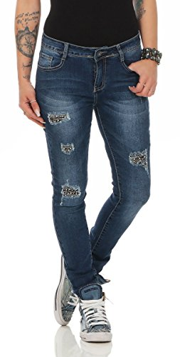 turquoise Femme 38 turquoise Jeans Fashion4Young dunkelblau 11388 nTfpBBq6x