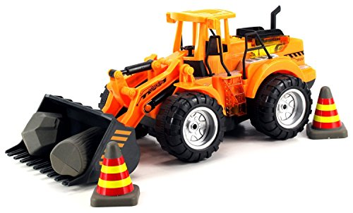 Velocity Toys Power Construction Bulldozer Children's Kid's Remote Control RC Truck, Rechargeable, Working Arm w/ Lifting & Dumping Actions