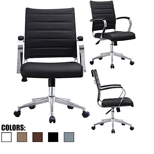 2xhome - Black- Modern Mid Back Ribbed PU Leather Swivel Tilt Adjustable Chair Designer Boss Executive Management Manager Office Chair Conference Room Work Task Computer ... - Chair Conference Room