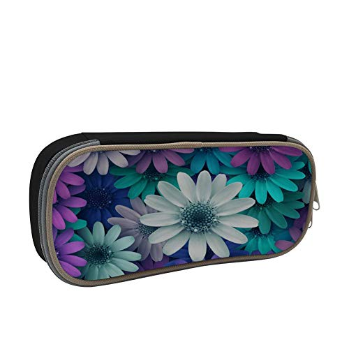 Bright Flowers Large Capacity Multi-Layer Pencil Case Back To School Choice Black by dreambest