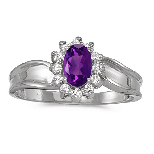 (10k White Gold 6x4mm Oval Amethyst And Diamond Ring. Size 10.5)