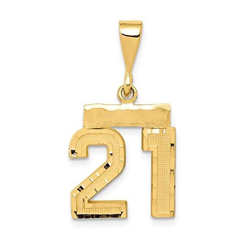 JewelrySuperMart Collection 14k Yellow Gold Diamond-Cut Number Twenty-One Charm Pendant - # 21 - Yellow Gold -Small
