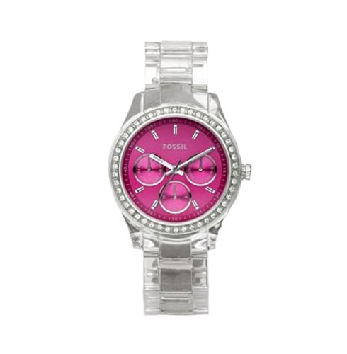 Fossil Women's ES2604 Clear Plastic Bracelet Pink Glitz Analog Dial Multifunction Watch