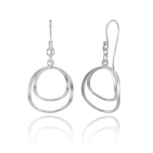 Double Swirl Earrings (Sterling Silver Double Circle Swirl Lightweight Dangle Drop Earrings)