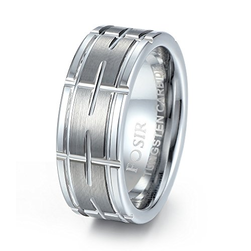 FOSIR Tungsten Carbide 8mm Mens Cross Grooved Wedding Band Ring Brushed (Cross Tungsten Wedding Band)