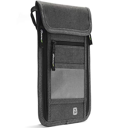 Runrar Travel Neck Pouch Neck Wallet, RFID Blocking Passport Holder for Men & Women, Passport Organizer Wallet to Keep Your Cash, Credit Card and Documents Safe (Gray)