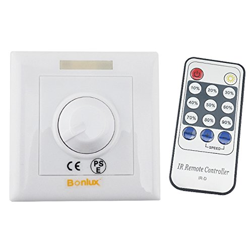 Bonlux LED Knob Triac Dimmer Switch with Infrared 14-Key Remote, 110v 220v LED Dimmer Controller for E27 Gu10 Dimmable Light Bulb, Spotlight, Downlights and Light Strips