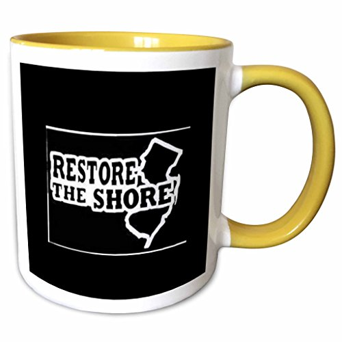 3dRose Xander inspirational sayings - restore the shore, white lettering on black background new jersey - 11oz Two-Tone Yellow Mug - Shore New Jersey Outlets