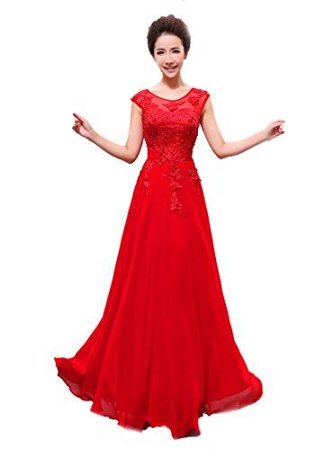 Edaier Rot Damen Lace langen Perlen Kleid Applikationen Chiffon Abendkleid Prom rrTRwqx4