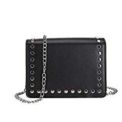 Rakkiss Women Rivet Crossbody Bag Solid Shoulder Bag Leather Messenger Bag Chain Handbag