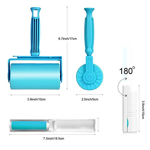 Lint Roller, Pet Hair Remover, Reusable & Washable Lint Roller, Remove Dog, Cat Hair, and Fuzz from Furniture, Carpets, Bedding, Clothing, Car Seats, and More. (3 Pack) (Blue)