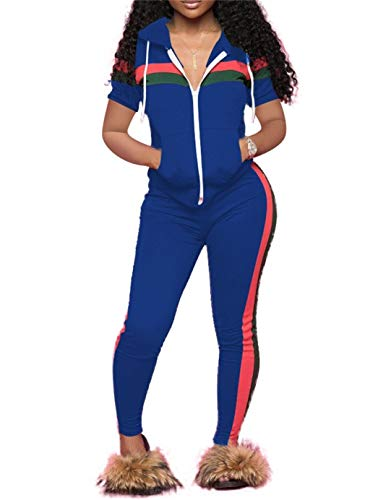 Women 2 Pieces Outfits Short Sleeve Hoodie Tops Long Pants Sets Sport Summer Jumpsuit Tracksuits with Zipper Plus Size