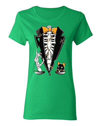 Most Popular Halloween Tuxedo Costume Pumpkin T-Shirt for Women Round Neck Tee Shirt(Green,Small)