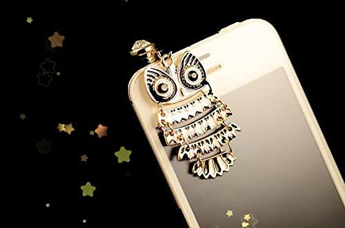 CJB Dust Plug//Earphone Jack Accessory Night Owl Pattern Black White for iPhone 4 4S S4 5 All Device with 3.5mm Jack Black /& White