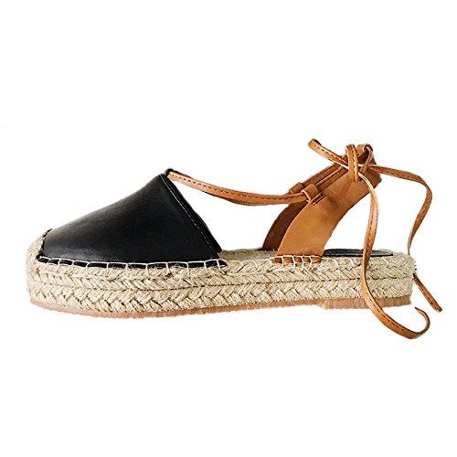 Xing Lin Sandalias De Mujer Las Tiras Transversales De Trébol Sandalias Verano Mujer Cabezal Inferior Grueso Zapatos Pescador Señoras Zapatos Cómodos Marea black