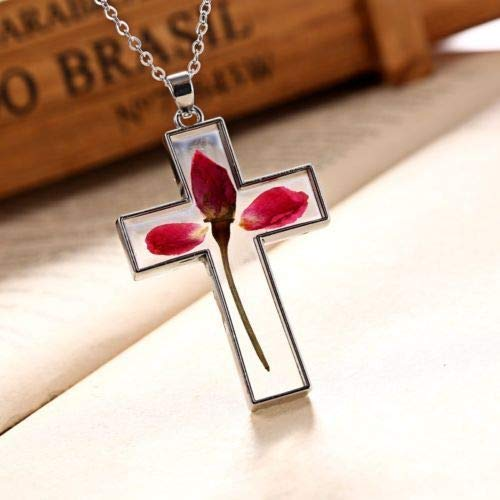 Fashion Natural Dried Flower Cross Glass Pendant Necklace Women Jewelry ()