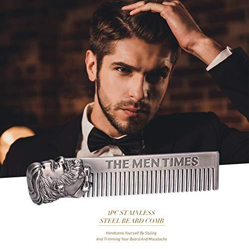 Stainless Steel Beard Comb, Men's Beard Shaping Brush Beard Styliny Comb, Pocket Anti-static Mustache Facial Hair Trimmer Carding Tool for Cheek Neck Goatee