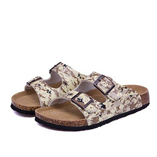 Open Sandals Toe Buckle Footbed Strap Slide Women's YaMiFan Double 10 Sandals Cork AxOtq1H