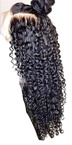 Party Locer Lace Front Human Hair Wigs with Baby Hair Kinky Curly Human Hair Lace Wigs Bleached Knot,12inches