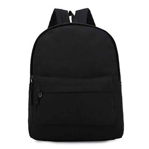 Anne - Bolso mochila  de Lona para mujer negro blanco negro