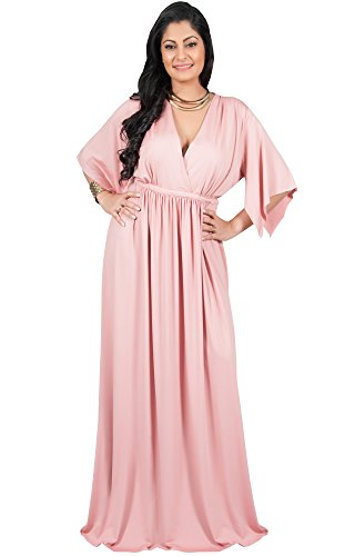 Adelyn & Vivian Plus Size Womens Long V-Neck Kaftan Short Sleeve Maxi Dress
