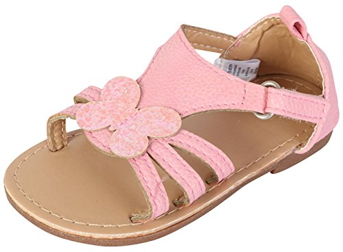 Gerber Baby Girls Hard Sole Butterfly Sandal, Light Pink, 6 M US Toddler'