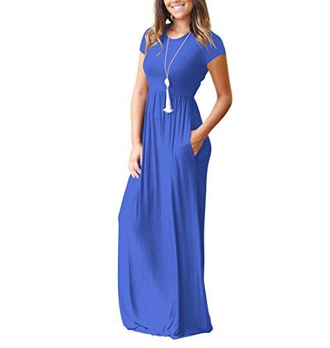 Courtes Femme Élégante Rétro Biilyli Longue Casual Avec Taille Manches Robe Maxi Mince Grande Bleu Poches De Haute shdtQr