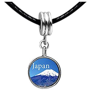 Chicforest Silver Plated Mount Fuji Japan Photo Topaz Crystal November Birthstone Flower dangle Charm Beads Fits Pandora Bracelets