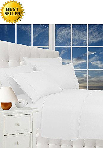 CELINE LINEN Luxurious Bed Sheets Set on Amazon 1800 Thread Count Egyptian Quality Wrinkle Free 4-Piece Sheet Set with Deep Pockets 100% Hypoallergenic, King White (Linens Walmart Bath)