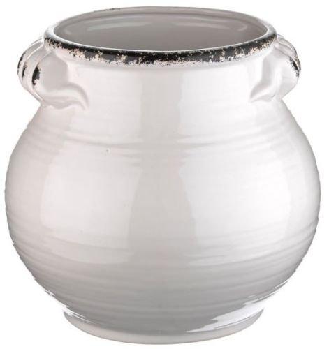 24cm Rustica Bulbous Vase Ceramic White Flower Urn Flower Vase Planter CB