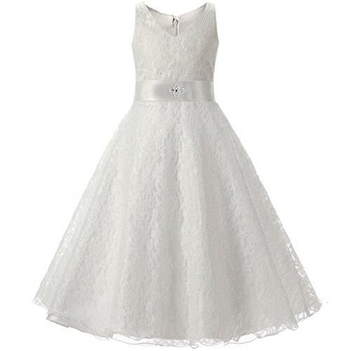 FantastCostumes Girls Vintage Elegant Lace Wedding Princess Formal Dress(White, (Wedding Dress Halloween Costume)