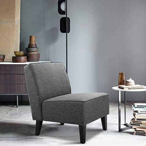 Giantex Upholstered Armless Accent Fabric Chair w Wood Legs, Comfy Single Sofa Modern Slipper Chair for Living Room, Bedroom Furniture, Gray