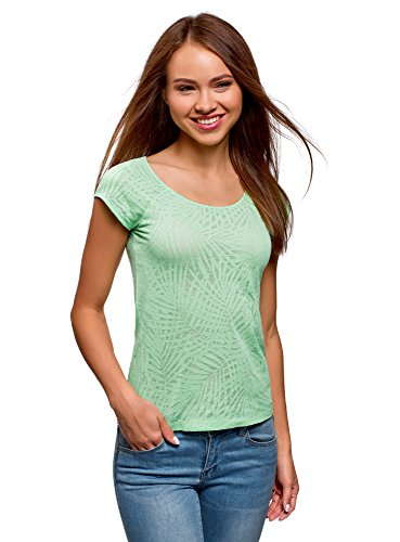 (oodji Collection Women's Raglan Sleeve T-Shirt in Textured Fabric, Green, US 12 / EU 46 / XXL)