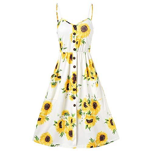 Frozen Costumes Dubai - KCatsy Spaghetti Strap Mini Dress Sunflower