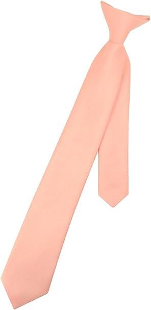 Vesuvio Napoli Boys CLIP-ON NeckTie Solid PEACH Color Youth Neck Tie