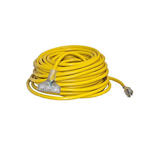 ALEKO EC10G3P100 ETL Heavy Duty 100-Feet Extension Cord SJTW Triple Tap Lighted Plug 10/3 Gauge Indoor Outdoor, Yellow