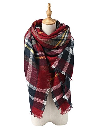 Merino Mohair Lace (Zando Plaid Blanket Thick Winter Scarf Tartan Chunky Wrap Oversized Shawl Cape Dark Red)