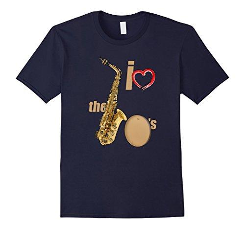 [Men's I Love The 70's T-shirt I Love 1970s Music  XL Navy] (70s Era Clothing)