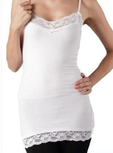 Zenana Women's Basic Long Layering Lace Cami w/adjustable straps- Plus Size (1X, Fuchsia)