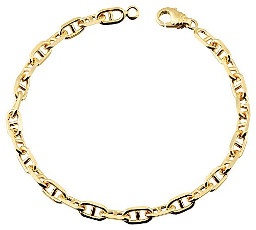 Orleo - REF12017BB : Bracelet Femme Or 18K jaune - Maille Forçat Barrette 18 cm