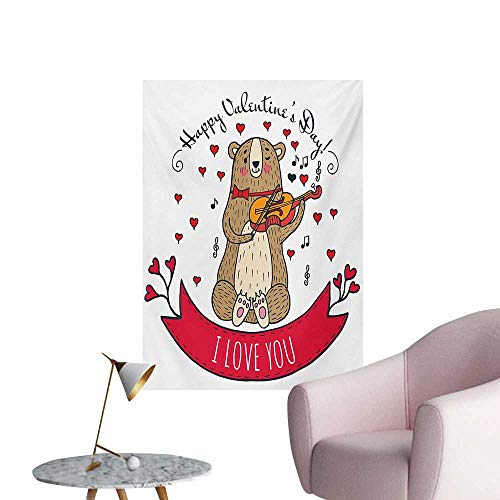 (Anzhutwelve Valentines Day Photographic Wallpaper Teddy Bear with Violin Made with Love Romantic Music Notes Heart I Love youRed Brown W20 xL28 Funny Poster)