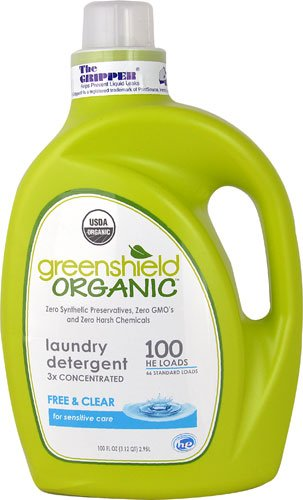3x Concentrated Liquid Laundry Detergent - GreenShield Organic Laundry Detergent 3x Concentrated Free & Clear -- 100 fl oz - 3PC