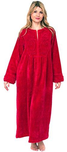 Bath & Robes Women's Chenille Full Length 100% Cotton Robe Medium Cherry Red (For Robes Women Chenille Cotton)
