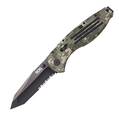 "SOG Aegis Assisted Folding Knife AE04-CP - Digi Camo, Black TiNi, Tanto, Partially Serrated, 3.5"" Blade, GRN Handle"